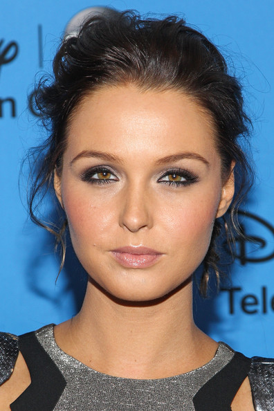 Camilla Luddington Pinned Up Ringlets [hair,face,hairstyle,eyebrow,chin,lip,forehead,black hair,eyelash,electric blue,camilla luddington,arrivals,beverly hills,california,the beverly hilton hotel,abc television group,disney,2013 summer tca tour]