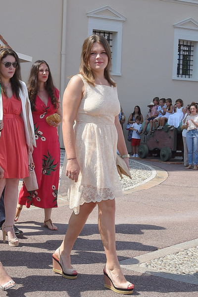 Camille Gottlieb Lace Dress [prince albert of monaco celebrates 10 years on the throne,first day,white,clothing,fashion,dress,footwear,leg,event,summer,fashion design,cocktail dress,camille gottlieb,monaco,10th anniversary,throne celebrations]