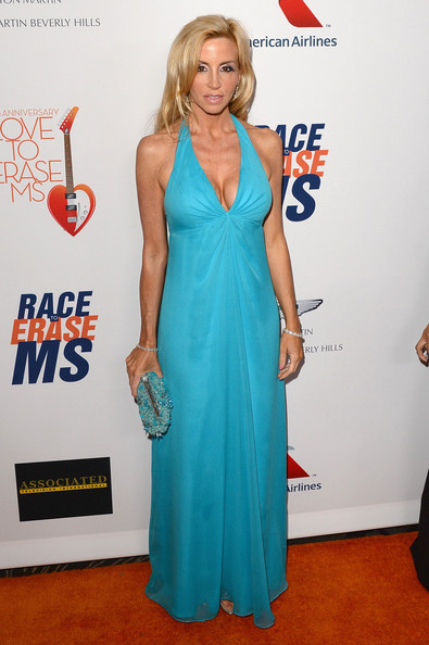 Camille Grammer Halter Dress [red carpet,dress,clothing,red carpet,carpet,cobalt blue,cocktail dress,shoulder,electric blue,turquoise,premiere,gala,camille grammer,love to erase ms,hyatt regency century plaza,century city,california,race]