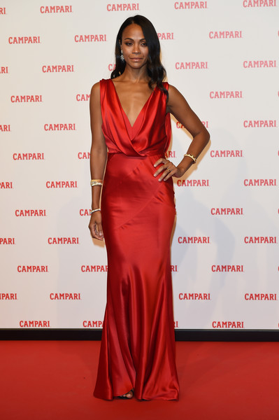 Zoe Saldana looked phenomenal in a draped satin gown by Alberta Ferretti Couture at the premiere of 'The Legend of Red Hand.'
