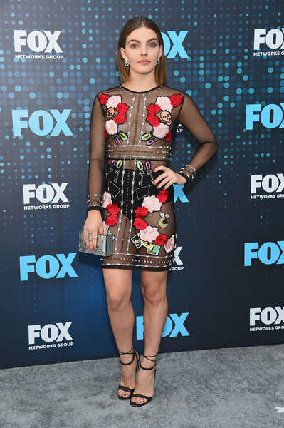 Camren Bicondova Sheer Dress [clothing,dress,cocktail dress,fashion,fashion model,carpet,footwear,premiere,shoulder,joint,fox upfront,camren bicondova,wollman rink,central park,new york city,fox]