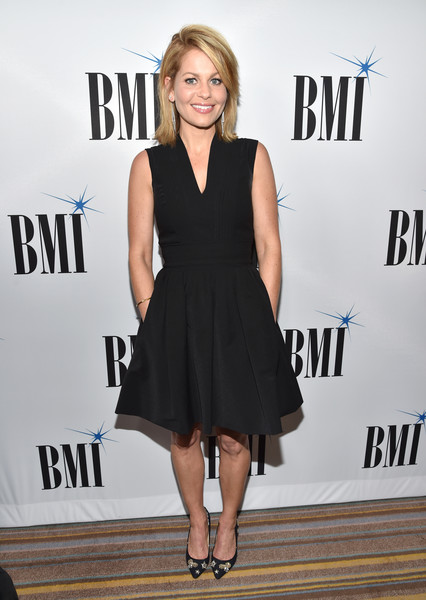 Candace Cameron Bure Evening Pumps [bmi film,red carpet,broadcast music inc bmi film,dress,clothing,little black dress,cocktail dress,fashion,hairstyle,premiere,carpet,footwear,shoulder,candace cameron-bure,tv,visual media awards,beverly wilshire hotel,beverly hills,california]