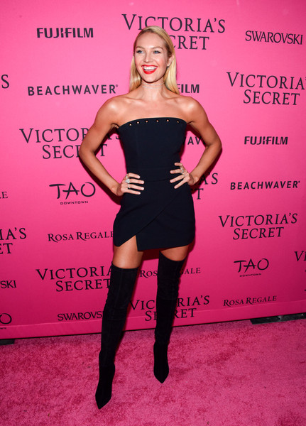 Candice Swanepoel Over the Knee Boots [clothing,pink,dress,joint,shoulder,footwear,leg,cocktail dress,magenta,little black dress,carpet arrivals,candice swanepoel,new york city,tao downtown,victorias secret fashion after party]