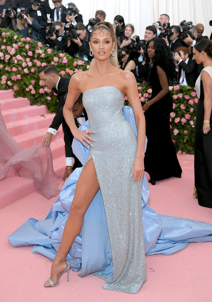 Candice Swanepoel Evening Sandals [gown,red carpet,dress,carpet,clothing,fashion,shoulder,strapless dress,haute couture,flooring,fashion - arrivals,candice swanepoel,notes,fashion,new york city,metropolitan museum of art,met gala celebrating camp]
