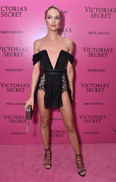 Candice Swanepoel Lace-Up Heels [fashion model,pink,flooring,beauty,shoulder,joint,fashion show,fashion,little black dress,dress,candice swanepoel,shanghai,china,mercedes-benz arena,party,victorias secret fashion show]