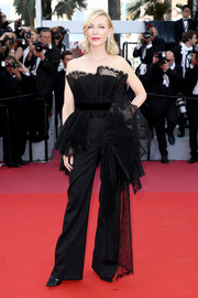 Cate Blanchett opted for a strapless black Givenchy Couture jumpsuit with fan detailing when she attended the Cannes Film Festival screening of 'Capharnaum.'