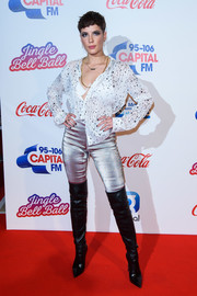 Halsey flashed her bra in a half-unbuttoned star-print blouse at the Capital FM Jingle Bell Ball.