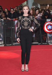 Emily VanCamp worked a black Zuhair Murad jumpsuit with an embellished, sheer-illusion bodice at the European premiere of 'Captain America: Civil War.'