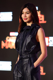 Gemma Chan attended the 'Captain Marvel' press conference wearing a matchy-matchy top and shorts combo by Boss.