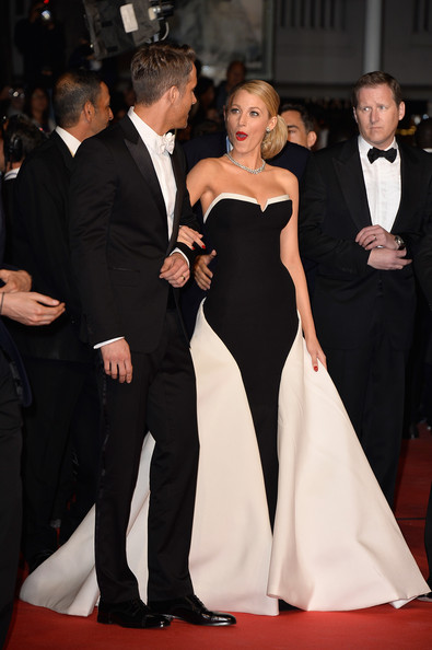 Blake Lively (in Gucci) and Ryan Reynolds at the 2014 Cannes Film Festival