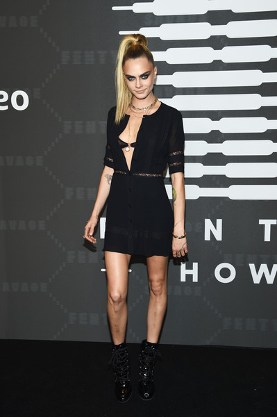 Cara Delevingne Lace Up Boots [savage x fenty show,fashion model,clothing,dress,shoulder,fashion,little black dress,cocktail dress,footwear,joint,fashion show,video - arrivals,cara delevingne,brooklyn,new york,barclays center,amazon prime]