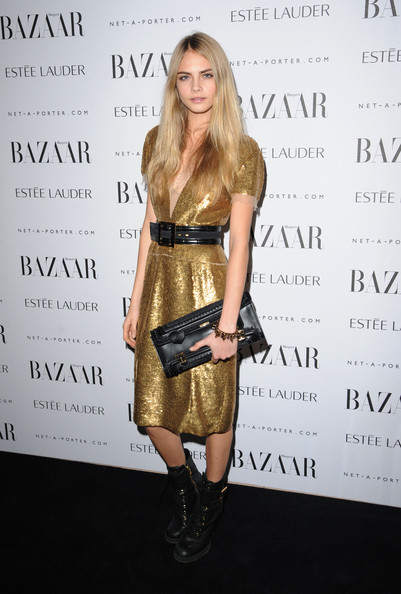 Cara Delevingne Beaded Dress [harpers bazaar women of the year awards,cara delevigne,clothing,shoulder,dress,cocktail dress,hairstyle,fashion,joint,blond,footwear,fashion design,england,london,claridges hotel]