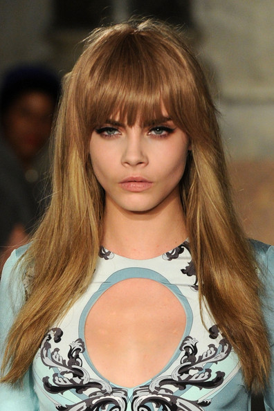 Cara Delevingne Long Straight Cut with Bangs