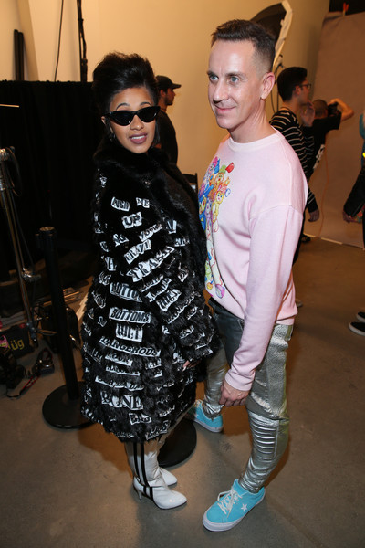 Cardi B Knee High Boots [shows,the shows,eyewear,fashion,fashion design,footwear,event,vision care,sunglasses,shoe,style,performance,jeremy scott,jeremy scott - backstage,recording artist,gallery i,new york city,cardi b,spring studios,new york fashion week]