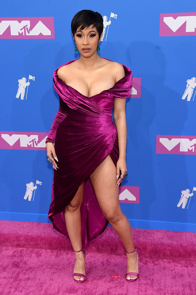 Cardi B Off-the-Shoulder Dress [clothing,red carpet,dress,carpet,shoulder,thigh,cocktail dress,hairstyle,leg,fashion,dress,carpet,cocktail dress,singer,mtv video music awards,red carpet,clothing,new york city,radio city music hall,cardi b,cardi b,2018 mtv video music awards,mtv video music award,red carpet,2018,music,mtv,mtv video music award for video of the year,singer]