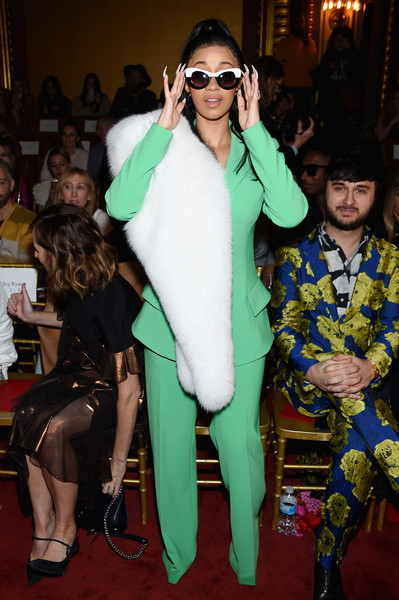 Cardi B Pantsuit [fashion,fur,fashion design,eyewear,outerwear,event,costume,textile,red carpet,fur clothing,christian siriano,rapper,front row,new york city,grand lodge,cardi b,new york fashion week,fashion show]