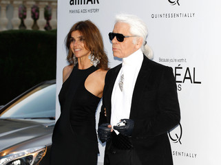 Carine Roitfeld Karl Lagerfeld 2012 amfAR's Cinema Against AIDS - Arrivals