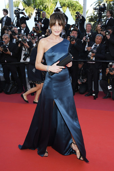 Carla Bruni-Sarkozy One Shoulder Dress [les miserables,red carpet,carpet,premiere,flooring,dress,clothing,shoulder,event,fashion,joint,carla bruni,screening,cannes,france,red carpet,the 72nd annual cannes film festival]