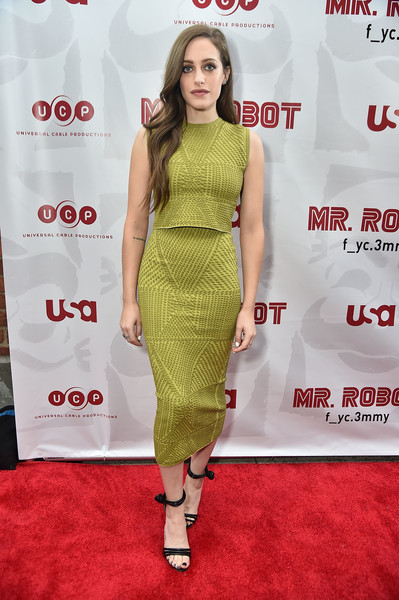 Carly Chaikin Crop Top [mr. robot,clothing,dress,red carpet,shoulder,carpet,cocktail dress,fashion model,premiere,fashion,joint,carly chaikin,new york city,the metrograph,fyc screening]