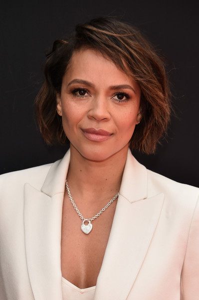 Carmen Ejogo Bob [hair,face,hairstyle,chin,blazer,outerwear,layered hair,white-collar worker,official,brown hair,ridley scott hand and footprint ceremony,carmen ejogo,ridley scott,hand,california,hollywood,tcl chinese theatre imax,footprint ceremony]
