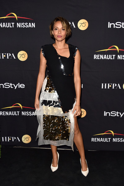 Carmen Ejogo Embellished Top [clothing,dress,cocktail dress,little black dress,fashion,red carpet,carpet,premiere,shoulder,footwear,arrivals,carmen ejogo,toronto,canada,windsor arms hotel,hfpa,instyle,toronto international film festival,instyle annual celebration,celebration]
