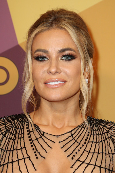 Carmen Electra Ponytail [hair,face,hairstyle,eyebrow,blond,shoulder,lip,eyelash,chin,layered hair,carmen electra,official golden globe awards,california,los angeles,circa 55 restaurant,hbo,arrivals]