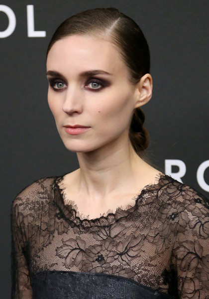 Rooney Mara styled her hair into a knotted chignon for the New York premiere of 'Carol.'