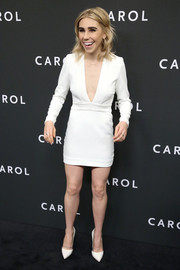 Zosia Mamet looked sassy in a plunging white mini dress at the New York premiere of 'Carol.'