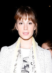 Elettra Wiedemann attended the Carolina Herrera fashion show wearing her hair in a bun with jagged bangs.