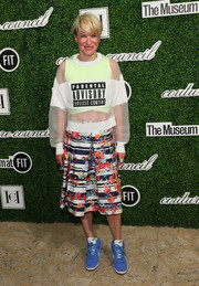 Julie Macklowe boldly pulled off this floral skirt and sweater combo.