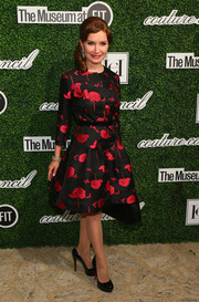 Jean Shafiroff attended the Couture Council Award luncheon wearing a classy red and black print dress.
