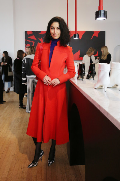 Caroline Issa Wool Coat [shows,the shows,clothing,red,fashion,event,outerwear,fashion design,formal wear,footwear,suit,coat,paul andrew - presentation,paul andrew,caroline issa,presentation,new york city,ramscale studio,new york fashion week]