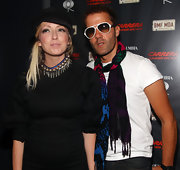 Katie White of the Ting Tings showed off a collar neckalce full of silver beads.