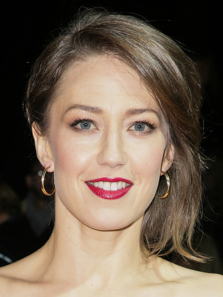 Carrie Coon Short Side Part [hair,face,lip,eyebrow,hairstyle,chin,skin,cheek,beauty,nose,mercedes-benz arrivals,carrie coon,palm springs,california,mercedes-benz,palm springs internatonal film festival,palm springs international film festival awards gala]