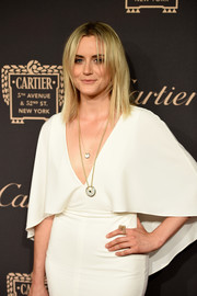 Taylor Schilling accessorized with a gold knot ring at the Cartier Fifth Avenue grand reopening.