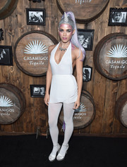 Jenna Dewan-Tatum came dressed as the sexiest unicorn in fantasyland in a white halterneck bodysuit by American Apparel at the Casamigos Tequila Halloween party.