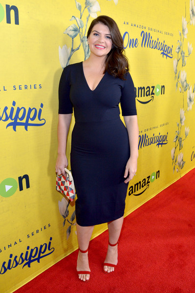 Casey Wilson Beaded Clutch [one mississippi,series,clothing,dress,yellow,cocktail dress,red carpet,carpet,premiere,shoulder,flooring,electric blue,casey wilson,california,los angeles,amazon,premiere,premiere]