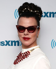 Debi Mazar got all glammed up with this braided bun for her visit to the SiriusXM studios.