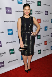 America Ferrera played up her curves in a body-con LBD with silver beading during the Artios Awards.