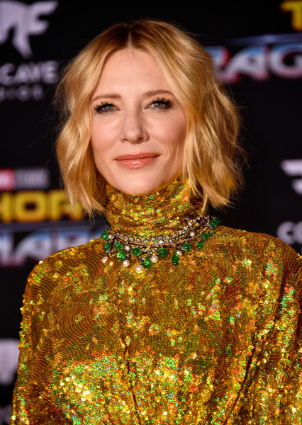 Cate Blanchett Gemstone Statement Necklace [marvels thor: ragnarok,thor: ragnarok,hair,fashion model,hairstyle,human hair color,blond,beauty,long hair,fashion,hair coloring,layered hair,arrivals,cate blanchett,los angeles,california,disney,marvel,premiere,premiere]