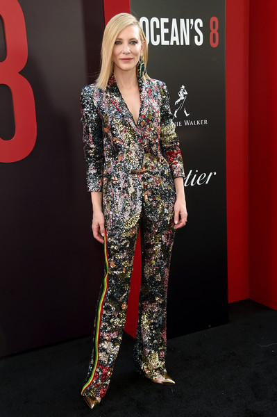 Cate Blanchett Pantsuit [clothing,red carpet,fashion,fashion model,suit,carpet,pantsuit,pajamas,dress,formal wear,cate blancett,world premiere,oceans 8,new york city,alice tully hall]