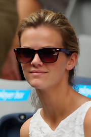 Brooklyn Decker cheered her husband on at the Australian Open in a pair of classically chic tortoiseshell wayfarers.