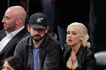Christina Aguilera Jordan Bratman Celebrities At The Lakers Game