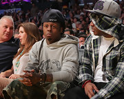 Lil Wayne wore a set of two beaded bracelets for the Lakers game in LA.