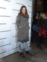 Katie Holmes arrived for the Club Monaco presentation wearing a stylish tweed coat from the label.