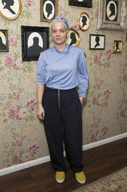 Lily Allen completed her laid-back look with a pair of baggy slacks.