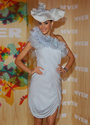 Rebecca is a glamour girl in this tulle embellished silver-blue cocktail dress.