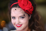 Rebecca Breeds vamped it up with super red lips.
