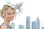 Brooklyn Decker posed at the VIP marquee on Magic Millions Race-Day wearing a splash of bold pink lipstick.