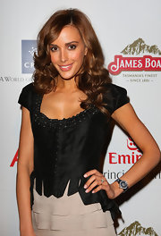Rebecca paired her tiered skirt with a black corset top.